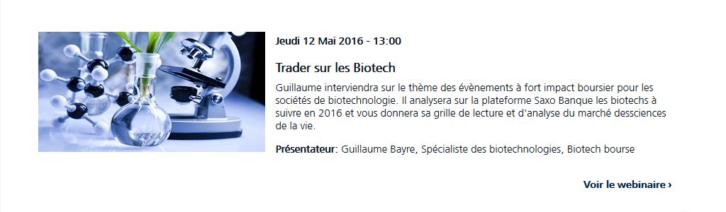 Webinaire Biotech Saxo Banque le 12 mai