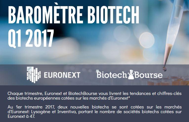 Euronext et BiotechBourse publient leur baromètre trimestriel de la Biotech